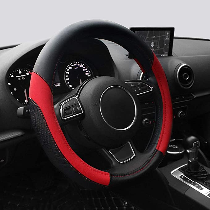 AOTOMIO Steering Wheel Cover Red /& Black Stitching Anti-Slip Leather Cover TPE Material Comfortable and Durable Universal 15 inches