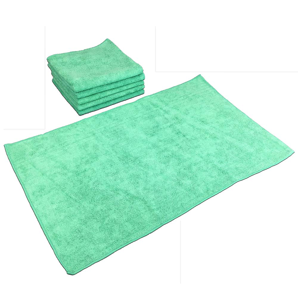 SmartChoice Microfiber Cleaning Cloths (12-pack) | Lint-Free, Streak Free | Various Sizes and Colors Avail | Ideal for Kitchen, Home and Car Use (Green, Large: 16 x 27 in.)
