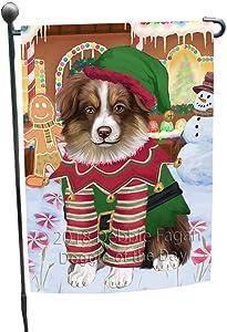 Doggie of the Day Christmas Gingerbread House Candyfest Australian Shepherd Dog Garden Flag GFLG56704