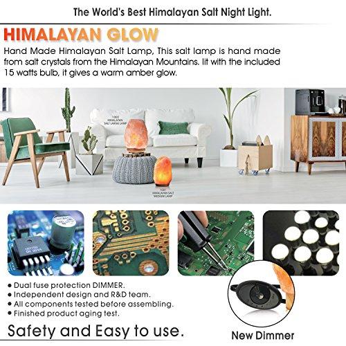 Himalayan Glow WBM 1002 large Salt lamp. ETL Certified himalayan pink salt lamp with Neem Wood Base/salt lamp light bulbs and Dimmer Control, Crystal, 9'' x 5'' x 5'', 8-11 LBS by Himalayan Glow (Image #4)