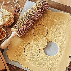 TTCOTOKE Mattarello Natale Rolling Pin per Biscotti e Pizza Utensile da Cucina in Rilievo di Legno Inciso a Forma di Mattarello Inciso di Natale Goffratura Mattarello di Pane di Pasta 12 spesavip