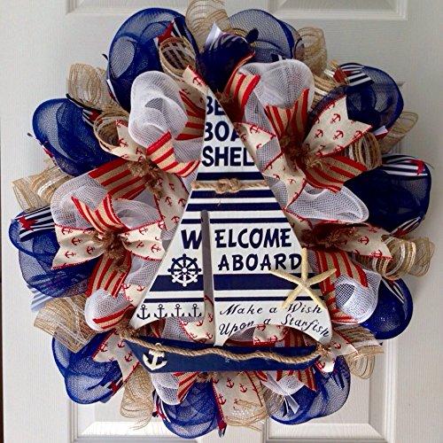 Make-a-Wish-Upon-a-Starfish-Nautical-Welcome-Wreath-Handmade-Deco-Mesh