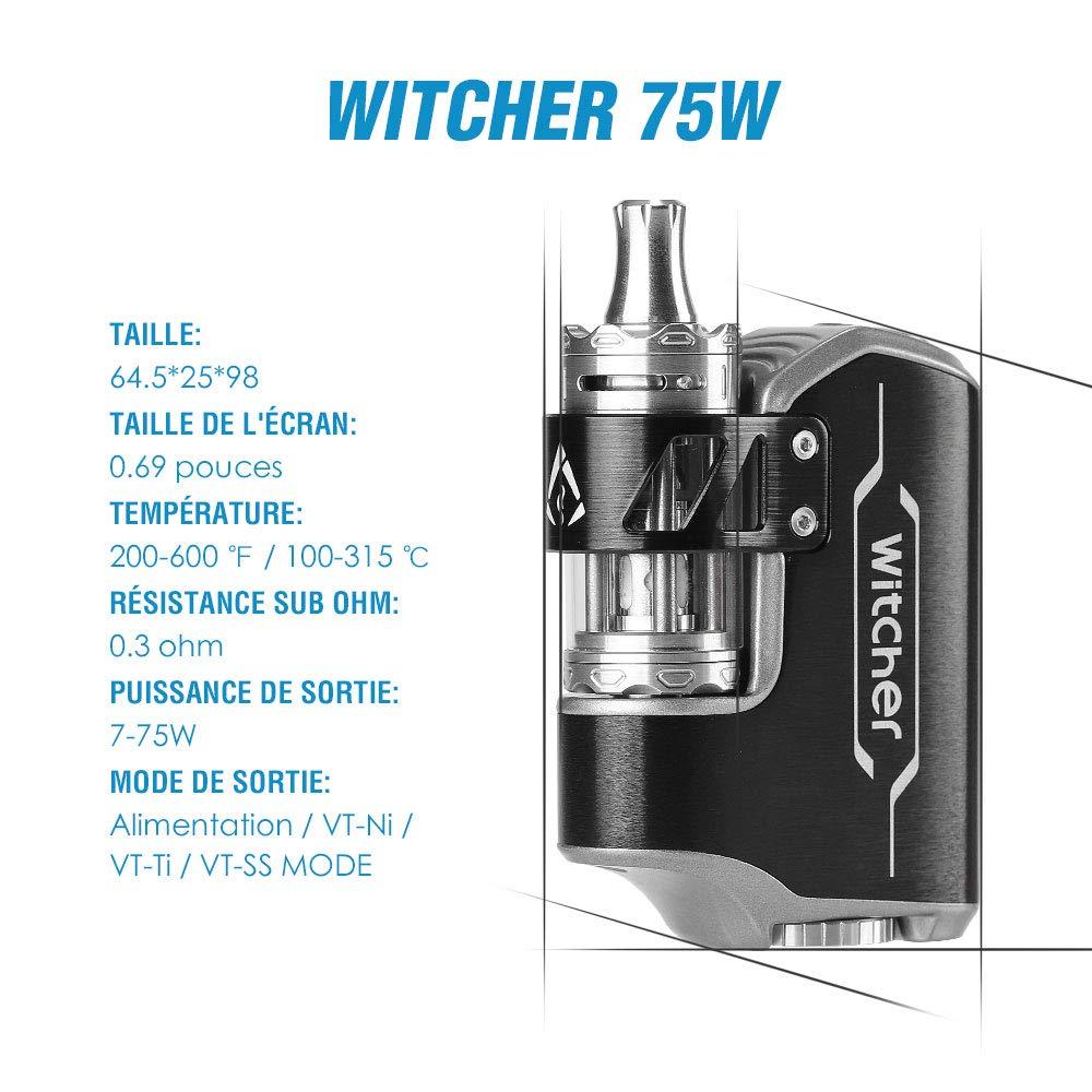 Witcher Electronic Cigarette 75W Todo en Uno Kit de inicio TC Box Mod E Shisha Batería desmontable Electronic Cigarette VW con pantalla OLED sin nicotina y ...