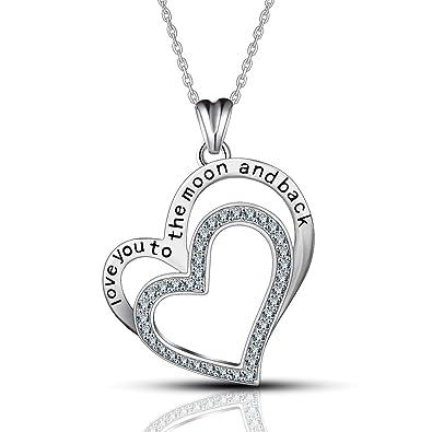 Herz im Herzen 925 Sterling Silber Kristall Anhänger Halskette 46cm,   quot I Love You 9d3d476f76