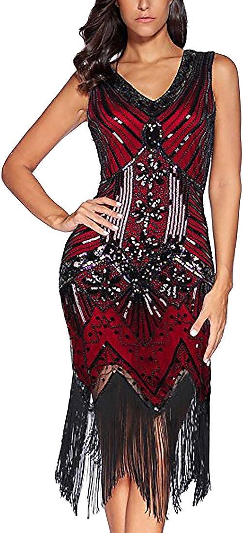 TALLA M. Flapper Vestidos de Mujer de los años 20 con Cuello en V con Cuentas de Flecos Great Gatsby Dress Años 20 Estilo Vintaje Vestido 1920s Gatsby Vestido Flapper Borgoña