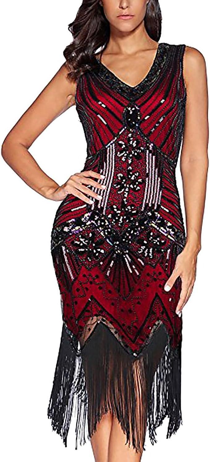 TALLA XL. Flapper Vestidos de Mujer de los años 20 con Cuello en V con Cuentas de Flecos Great Gatsby Dress Años 20 Estilo Vintaje Vestido 1920s Gatsby Vestido Flapper Borgoña XL