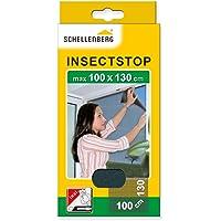 Schellenberg 50713 Fliegengitter für Fenster   zuverlässiger Schutz vor Mücken, Fliegen, Insekten & Ungeziefer   Maße: 100 x 130 cm   anthrazit   einfache Montage ohne bohren   inkl. Befestigungsband