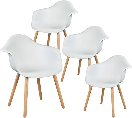 eSituro SDC0014-4 Pack de 4 Sillas de Comedor Silla de Oficina con Reposabrazos Silla Cocina PP Diseño Nórdico Patas Madera Blanco: Amazon.es: Hogar