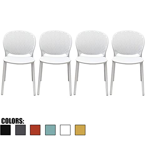 Marvelous 2Xhome Set Of 4 White Contemporary Modern Stackable Assembled Plastic Chair Molded With Back Armless Side Matte For Dining Room Living Designer Gmtry Best Dining Table And Chair Ideas Images Gmtryco