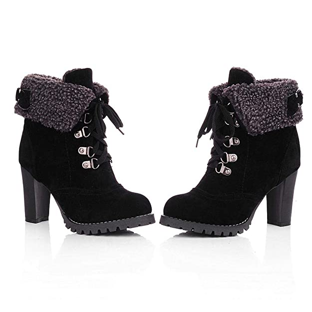 Amazon.com   HYIRI New Classic Lace-Up High Thick Short Boots, Women Shoes Leisure Ankle Boots High-Heel Boots   Boots