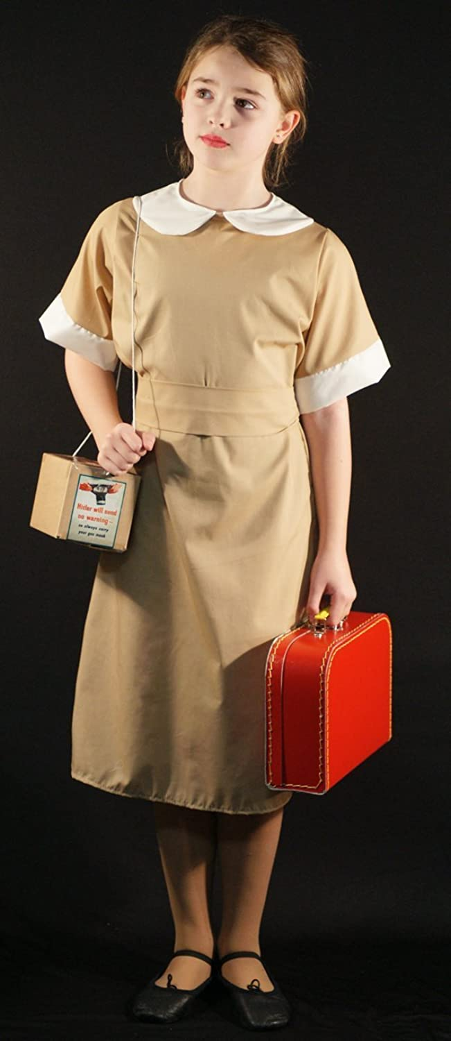 1940s Children's Clothing: Girls, Boys, Baby, Toddler 1940s-WW2-Wartime COMPLETE CAMEL BROWN EVACUEE DRESS WITH GAS MASK BOX & SUITCASE World Book Day Fancy Dress Costume $48.49 AT vintagedancer.com