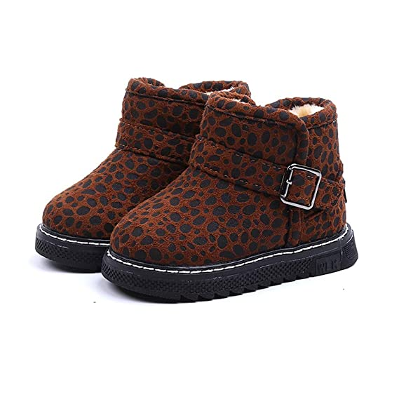 YanHoo Zapatos para niños Leopardo Infantil más Botas de Terciopelo cálidas Botas para la Nieve Botas Botas Botines Invierno Niños Moda Calientes Leopard ...