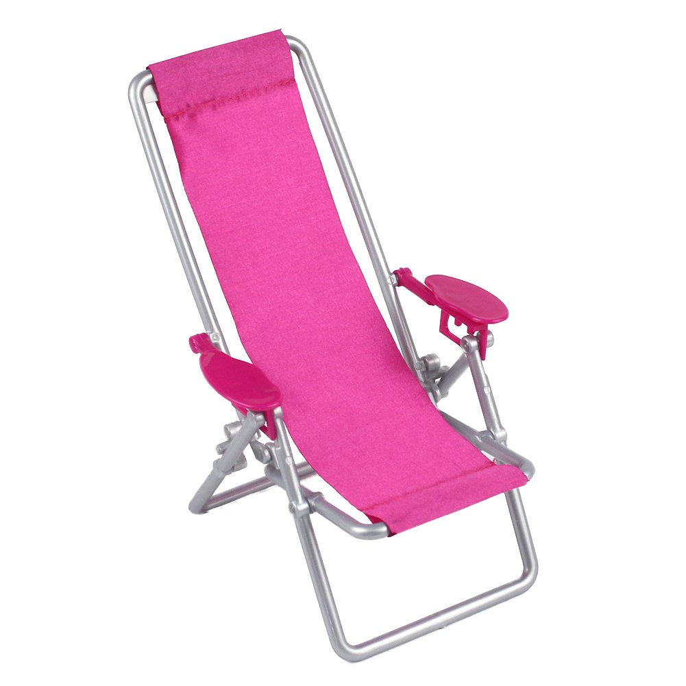 Mini Doll Furniture, Dollhouse Foldable Deckchair Lovely Miniature Lounge Beach Chair for 11.5in Barbie Dolls by Leoie