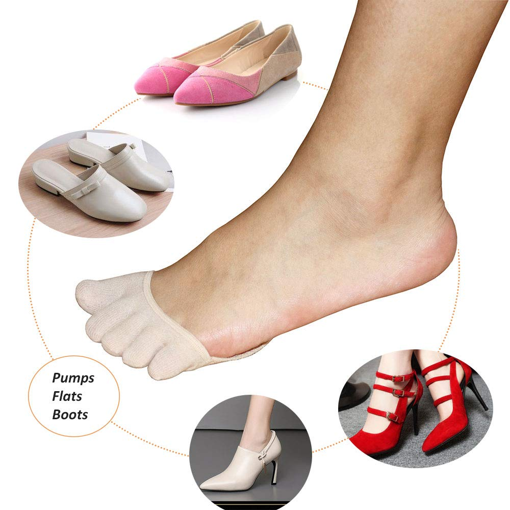 Five Toe Socks for Women No Show,Toe Sleeve for Hammer,Corns and Blister,Ball of Foot Cushions for High Heel Pumps Sandals by AUTPRO