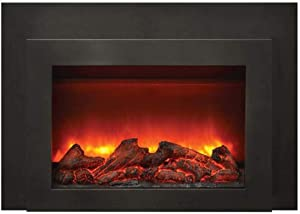 Sierra Flame Deep Electric Fireplace Insert with Black Steel Surround & Overlay
