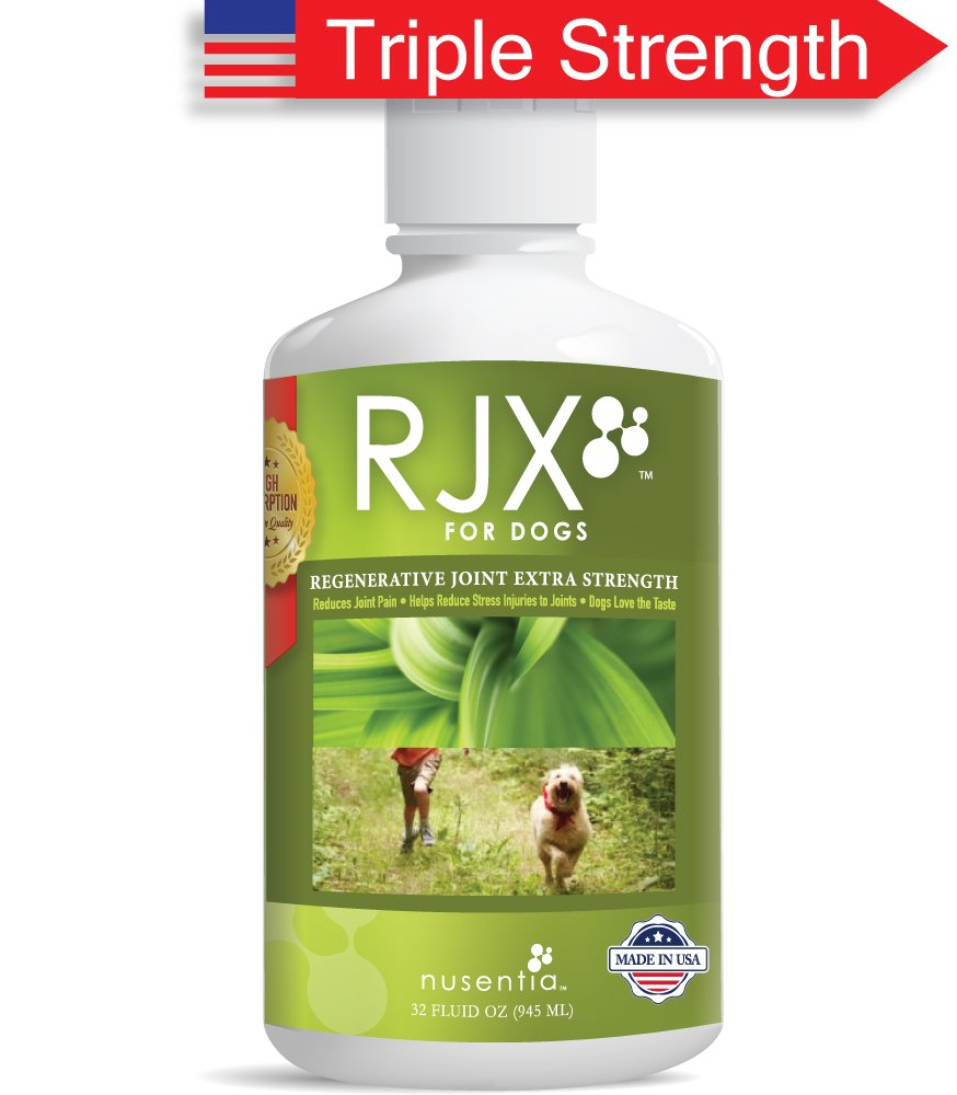 NUSENTIA Glucosamine for Dogs : RJX Canine Joint Support with Chondroitin and MSM. Ideal for Hip & Joint Problems, Arthritis, Pain, and Senior Dogs. Vet Recommended. All Natural. (32 oz)