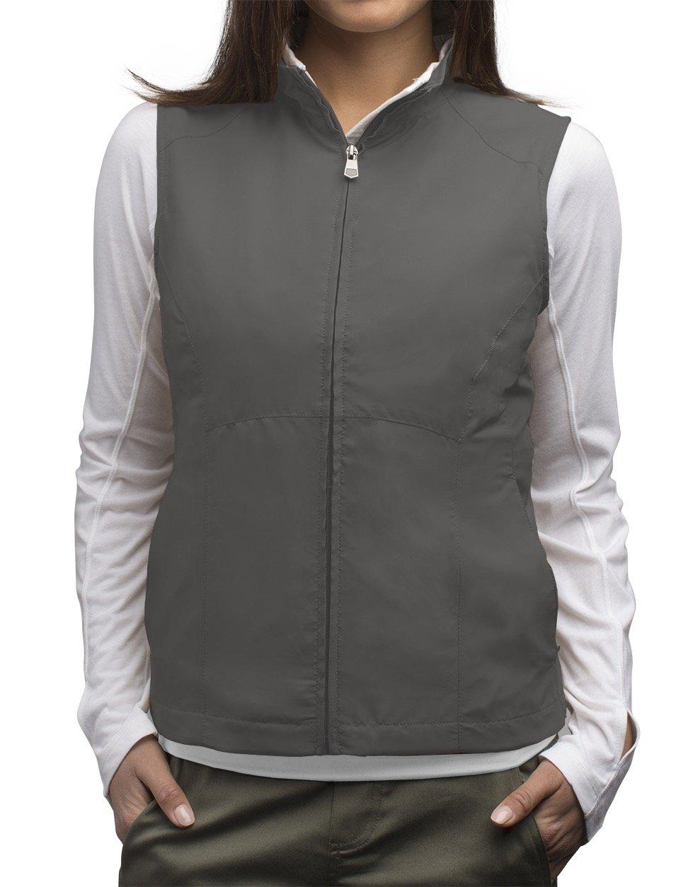 SCOTTeVEST Women's RFID Travel Vest - 18 Pockets - Travel Clothing (M1, Gray)