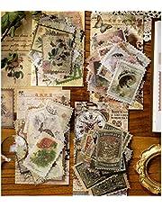 Vintage stickers, 240 stuks, voor scrapbooking, kalender, notitieboek, dagboek, fotoalbum, doe-het-zelfdecoratie, 47 mm x 67 mm, karakter, planten, gebouwen