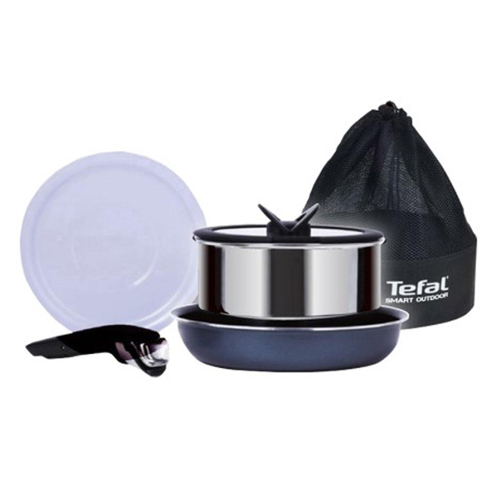 Tefal Smart Outdoor Magic Hands Camping 5P Set Stainless Pot 18cm Fry Pan 22cm