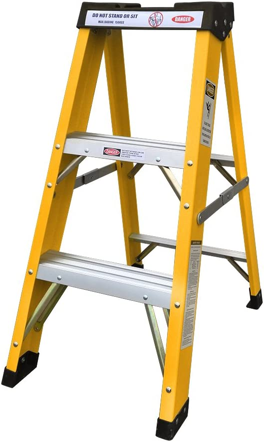 Escalera de seguridad de fibra de vidrio para electricistas, 300 V, 3 pasos: Amazon.es: Bricolaje y herramientas