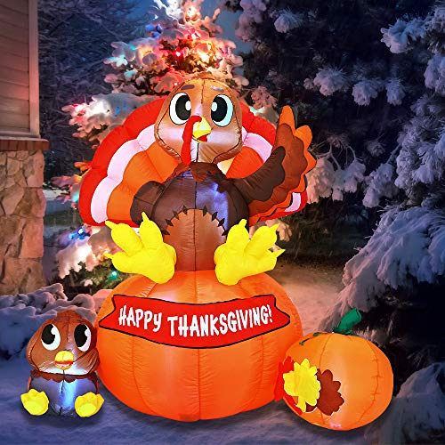 Joiedomi 6 ft Thanksgiving Inflatable Turkey on Pumpkin; LED Light Up Blow Up Turkey for Autumn Thanksgiving Decorations and Fall Family Party Favor Supply Décor.