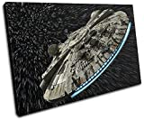Bold Bloc Design - Star Wars Millennium Falcon Gaming 60x40cm SINGLE Canvas Art Print Box Framed Picture Wall Hanging - Hand Made In The UK - Framed And Ready To Hang