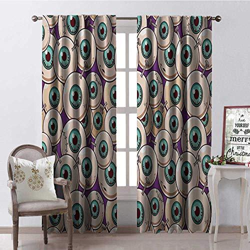 (Hengshu Halloween Zombie Eyeballs Multicolor Waterproof Window Curtain Decorative Curtains for Living Room W96 x)