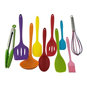 10 pcs Colorful Silicone Utensils Set, Heat-Resistant, Non-Stick, Safety Health, Silicone Baking Tool Sets For Kitchen