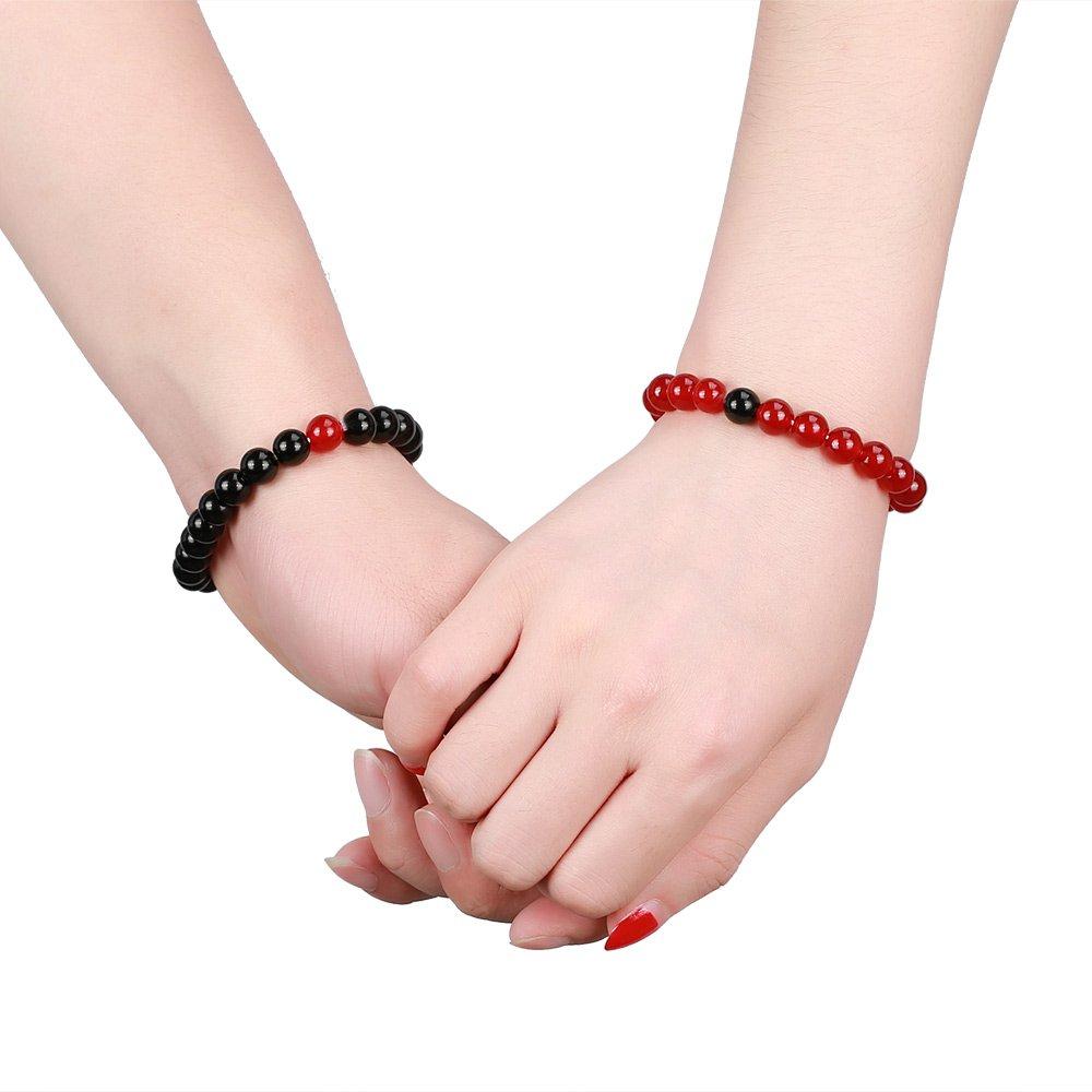 Gagafeel Couple Distance Bracelet His and Hers 8mm Black Agate & Pink Quartz Beads Matching Set Elastic Bracelets 2PCS (Natural Obsidian & Red Quartz)