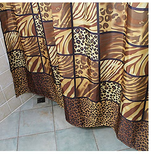 Eforcurtain Shower Curtain Abstract Artistic Leopard Print Thick Fabric Water Resistant Brown