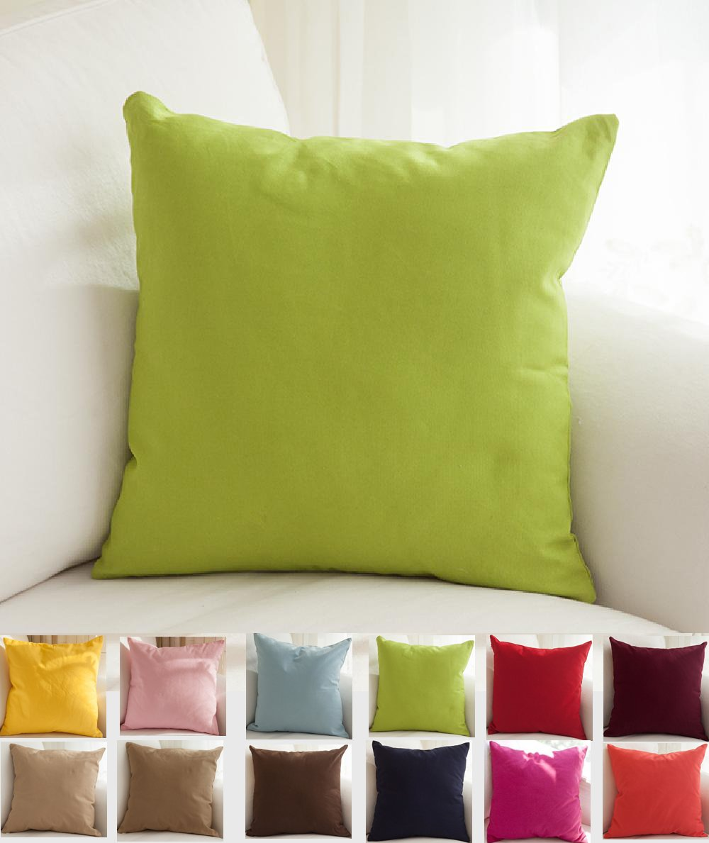 """TangDepot Cotton Solid Throw Pillow Covers, 16"""" x 16"""" , Apple Green"""