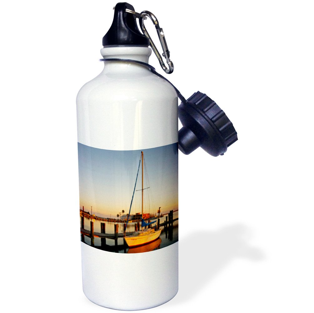 Texas harbor at sunset USA-US44 LDI0484-Larry Ditto Sports Water Bottle 3dRose wb/_146628/_1Sailboat Rockport 21 oz White