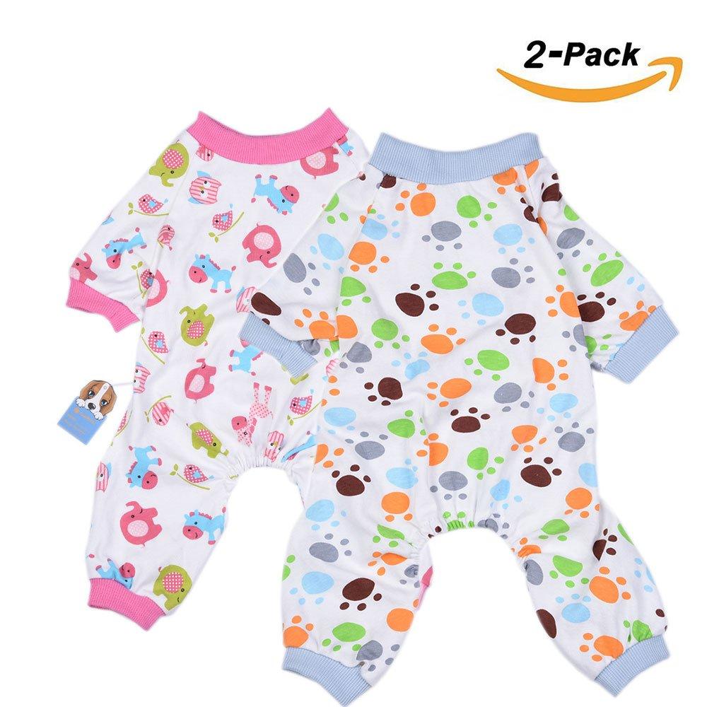 2-pack Chien Vêtements Chien Chat Combinaison Coton doux Pyjama Chien Chiot Barboteuse pour animal domestique Ange Cosy bodies pour petits chiens et chats par Hongyh HL