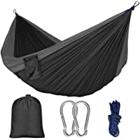 Hammock Camping Single & Double with Mosquito/Bug Net and Tree Straps & Carabiners | Easy Assembly |lightweight Portable Parachute Nylon Hammock for Camping, Backpacking,Travel