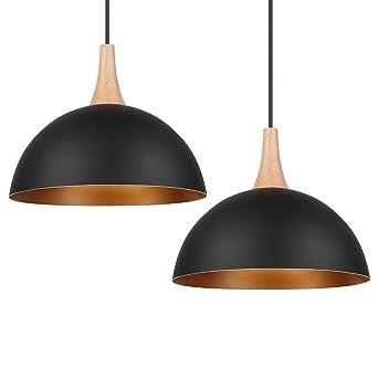 DECKEY Designklassiker 2x Pendelleuchte Hngeleuchte Nordischer Skandinavischer Still 30cm Fr E27 Leuchtmittel Schwarz