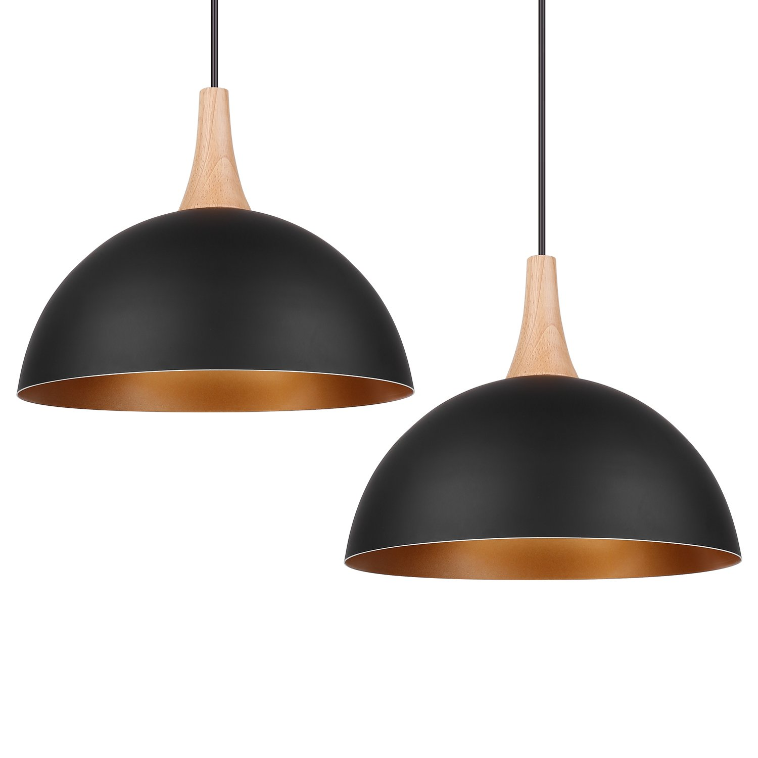 DECKEY Pendant Light Fixtures Ceiling Hanging Pendant Lights with Classic Vintage Industrial Metal Lampshade for Dining Room/Living Room/Restaurant - 2 Pack