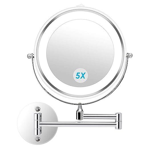 Espejo con LED 5X Magnificacion giro de 360°