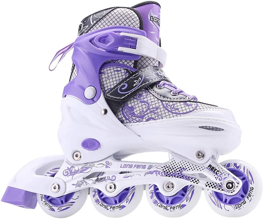 YANGXIAOYU インラインスケート、ローラースケートセット前輪フラッシュパープルブルーブラック初心者子供向け 紫の 39-42