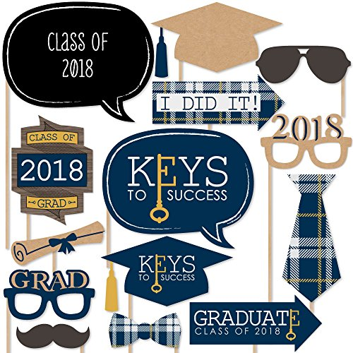 Grad Keys to Success - 2018 Graduation Photo Booth Props Kit - 20 Count -