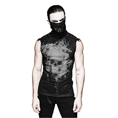 e8873e3639 Punk Men Sleeveless Vest Turtleneck Tank Tops Gothic Black Rivets Puff  Printing Knitted Collar T Shirt