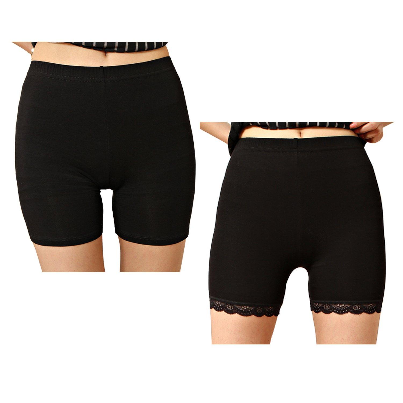 Liang Rou Women's Ultra Thin Stretch Short Leggings Plain Black L