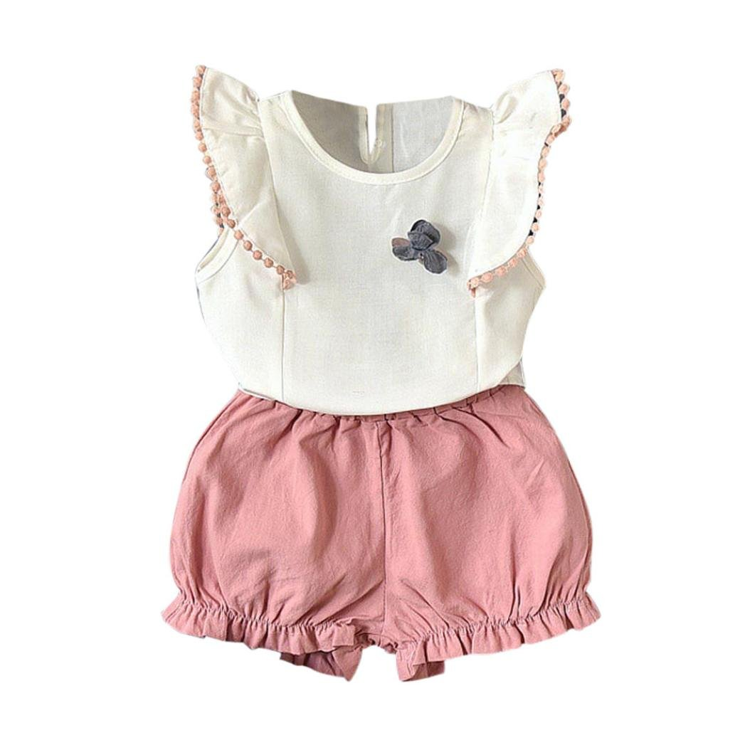CSSD Kids Girls {Ruffle Patchwork} {Sleeveless} {Tops+Shorts} (5T, Pink)