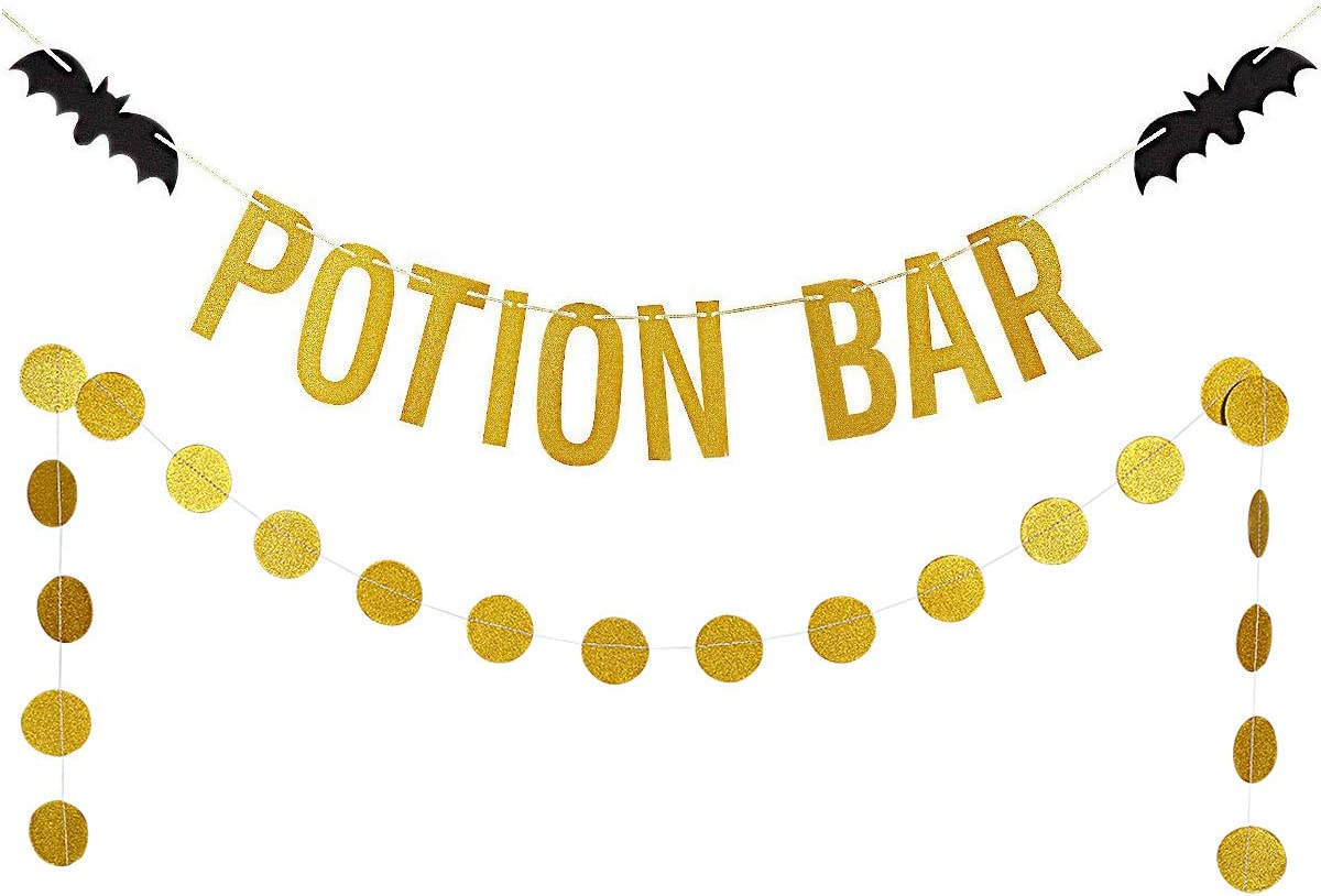 Gold Glittery Potion Bar Banner and Gold Glittery Circle Dots Garland(25pcs Circle Dots) Halloween Party Home Decor Decoration Supplies