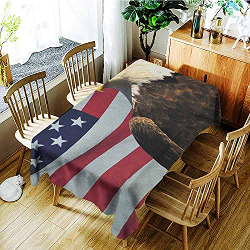 GUUVOR Eagle Anti-Wrinkle and Anti-Wrinkle Polyester Long Tablecloth United States of America Flag with Symbol of The Country Looking into The Horizon for Weddings/banquets W52 x L70 Inch Multicolor (Horizon Wedding)