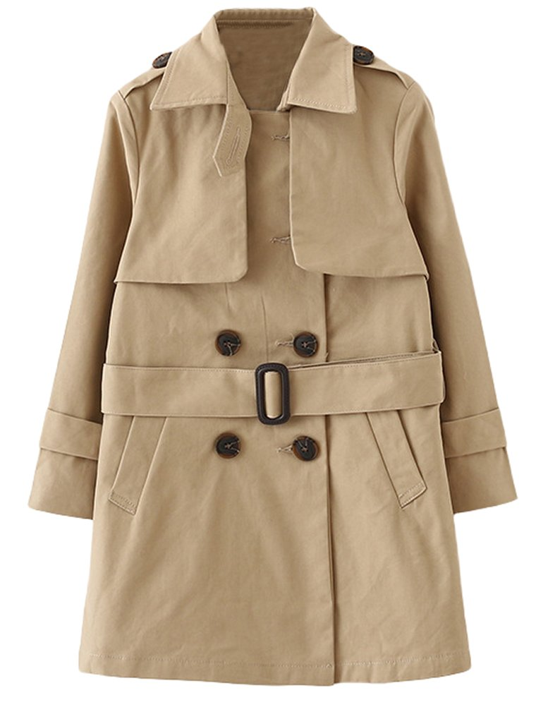 Mallimoda Girl's Basic Double Breasted Long Sleeve Trench Jacket Coat with Belt Khaki 4-5 Years