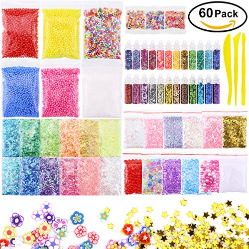 60 Pack Foam Beads For Slime-Slime Supplies Kit Include Floam Beads, Fishbowl Beads, Glitter Jars, Fruit Slices, Rainbow Pearl,Colorful Sugar Paper Accessories, Slime Tools for Slime Making DIY Craft
