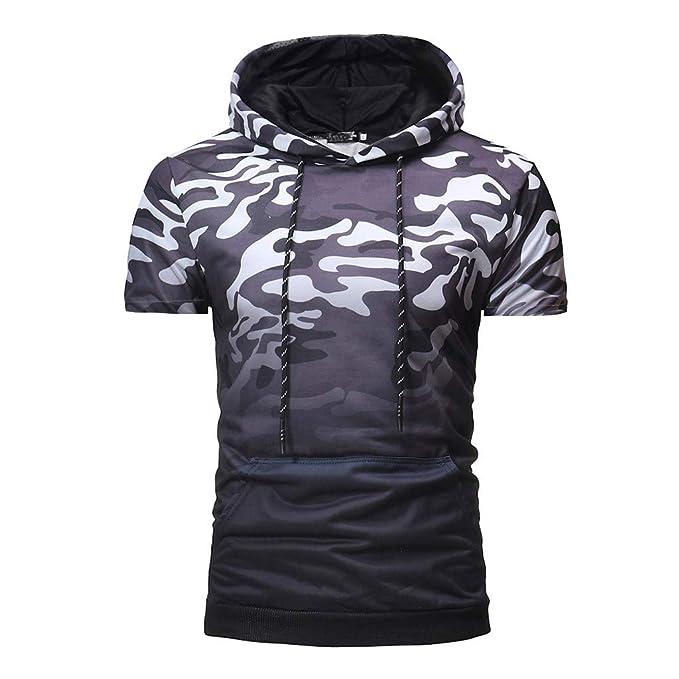 Camiseta de Manga Corta para Hombres Sudadera con Capucha Moda Camuflaje Personalizadas Gradiente Color Slim Fit Deportivo Casual Respirable T-Shirt de ...