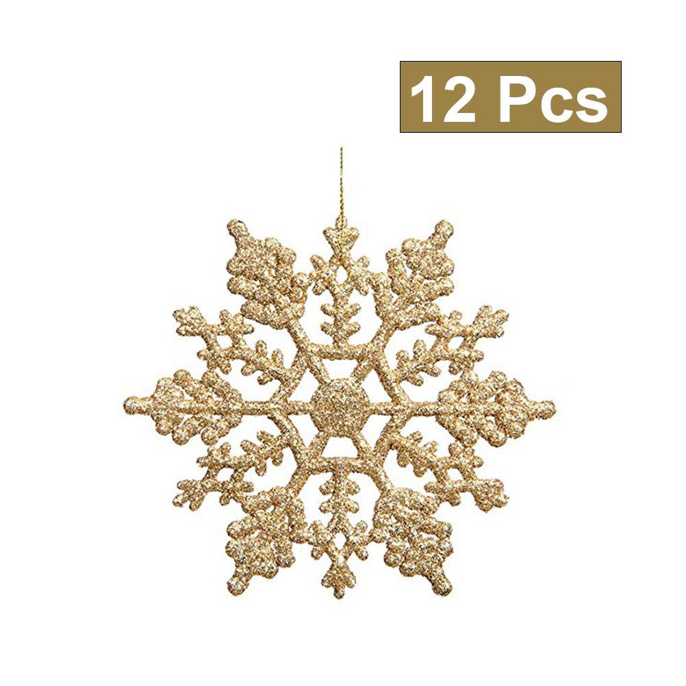 Tinksky Decorazioni di fiocco di neve 10cm Albero di Natale Fiocchi di neve Pezzi per ornamenti di Natale 12pcs (oro)