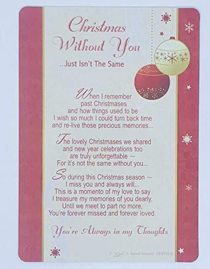 Christmas Without You Large Grave Card Plaque Memorial Keepsake