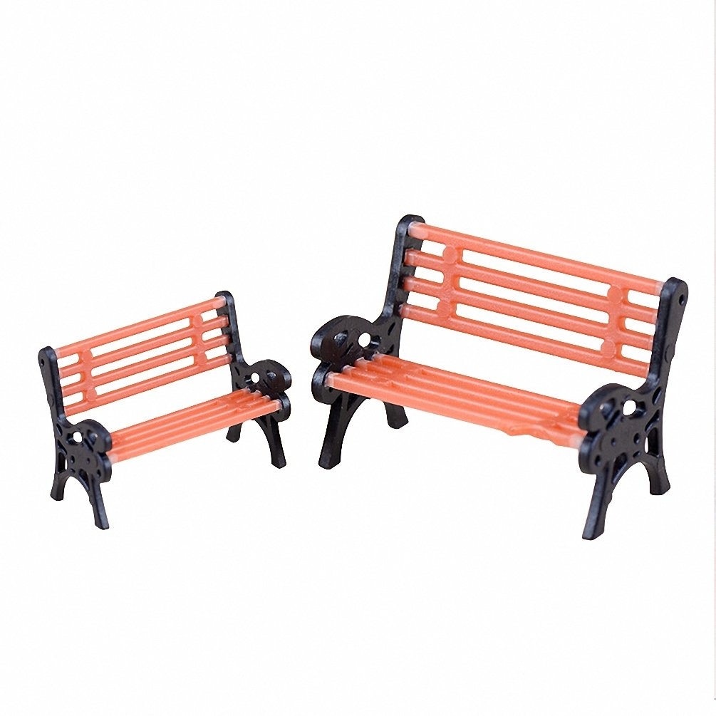 2X DIY Miniature Park Bench Garden Chair Dollhouse Furniture Outdoors Decor Redcolourful